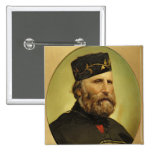 Retrato de Giuseppe Garibaldi Pin Cuadrada 5 Cm
