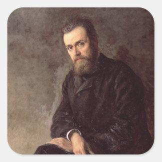 Retrato de Gleb I. Uspensky 1884 Pegatina Cuadrada