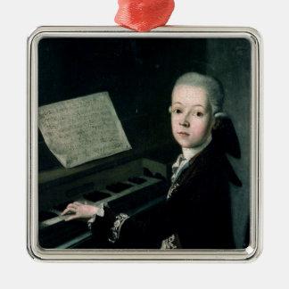 Retrato de Graf Firmian de Carl en el piano Adorno Navideño Cuadrado De Metal