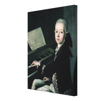 Retrato de Graf Firmian de Carl en el piano Impresiones En Lienzo Estiradas