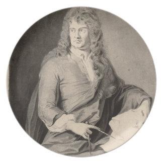Retrato de Grinling Gibbons (1648-1721) (w/c en p Plato De Cena