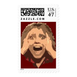 Retrato de griterío abstracto de la mujer estampillas