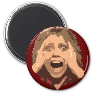Retrato de griterío abstracto de la mujer imán redondo 5 cm