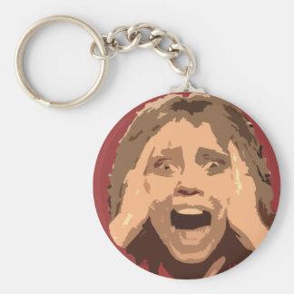 Retrato de griterío abstracto de la mujer llavero redondo tipo pin