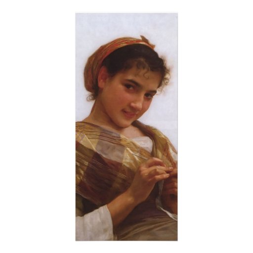 Retrato de Guillermo Bouguereau- de una chica jove Tarjeta Publicitaria