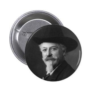 Retrato de Guillermo F. Cody a.k.a. Buffalo Bill Pin Redondo De 2 Pulgadas