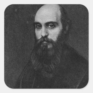 Retrato de Guillermo Michael Rossetti, 1864 Pegatinas Cuadradases Personalizadas