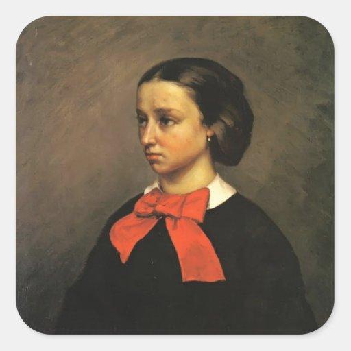 Retrato de Gustavo Courbet- del Mlle. Jacquet Calcomanía Cuadradase