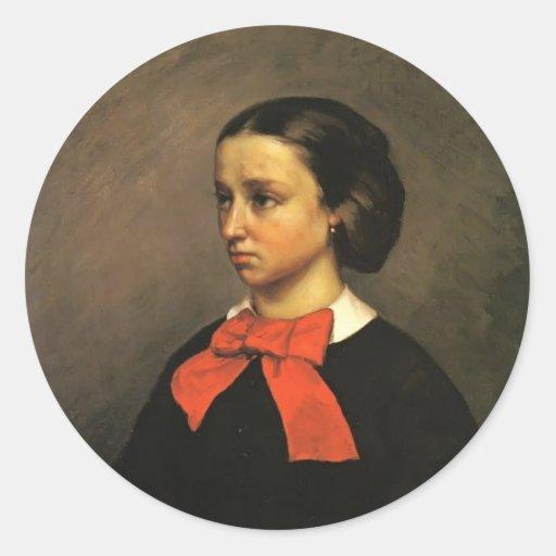Retrato de Gustavo Courbet- del Mlle. Jacquet Pegatina