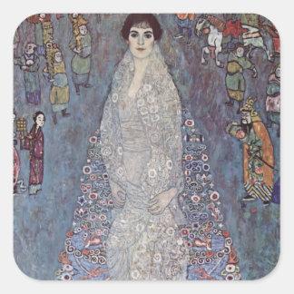 Retrato de Gustavo Klimt- de baronesa Calcomanía Cuadrada