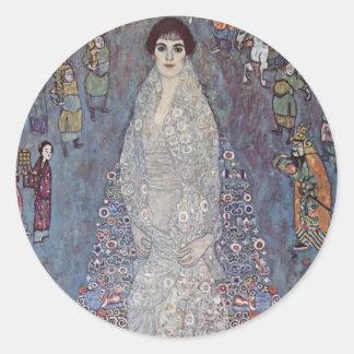 Retrato de Gustavo Klimt- de baronesa Pegatina Redonda