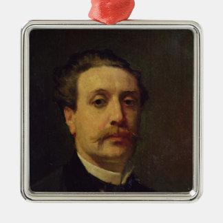 Retrato de Guy de Maupassant 1876 Adorno Navideño Cuadrado De Metal