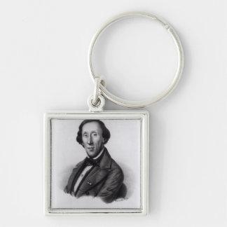 Retrato de Hans Christian Andersen Llavero Cuadrado Plateado