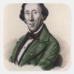 Retrato de Hans Christian Andersen Calcomanías Cuadradas Personalizadas
