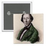 Retrato de Hans Christian Andersen Pin Cuadrada 5 Cm