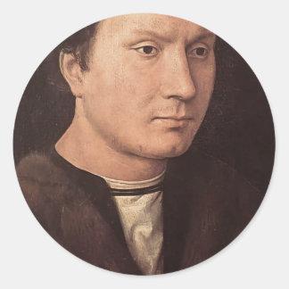 Retrato de Hans Memling- de un hombre Pegatina Redonda