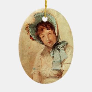 Retrato de Harriet Hubbard Ayers por la caza de Adorno Navideño Ovalado De Cerámica
