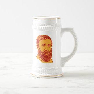 Retrato de Henry David Thoreau Jarra De Cerveza