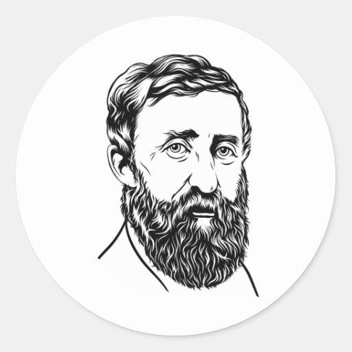 Retrato de Henry David Thoreau Pegatina Redonda