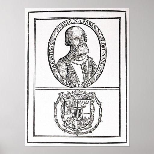 Retrato de Hernado Cortes y sus brazos Poster