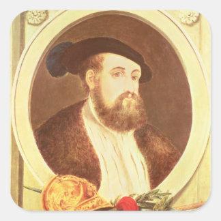 Retrato de Hernan Cortes Pegatina Cuadrada