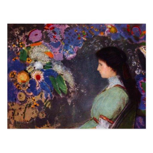 Retrato de Heymann violeta de Bertrand-Jean Redon Tarjetas Postales