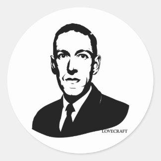 Retrato de HP Lovecraft Etiqueta Redonda