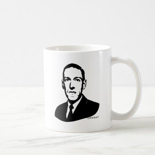 Retrato de HP Lovecraft Taza Básica Blanca
