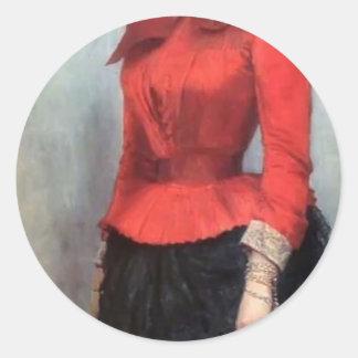 Retrato de Ilya Repin- de baronesa Varvara Ikskul Pegatina Redonda