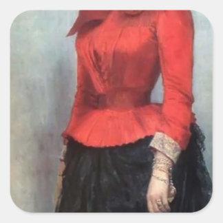 Retrato de Ilya Repin- de baronesa Varvara Ikskul Pegatinas Cuadradases Personalizadas