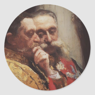 Retrato de Ilya Repin- de miembros del Consejo Pegatina Redonda