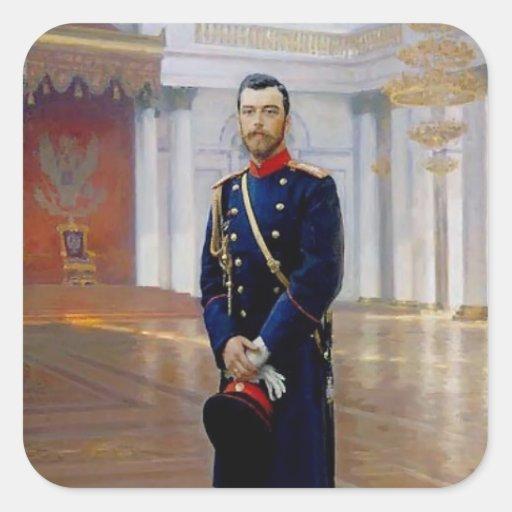 Retrato de Ilya Repin- de Nicolás II Pegatinas Cuadradases Personalizadas