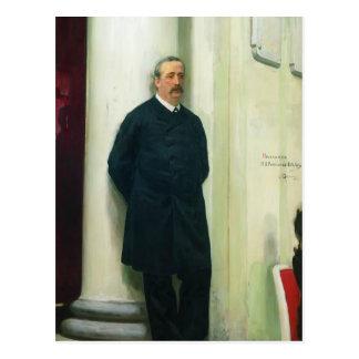 Retrato de Ilya Repin- del compositor y del químic Postal