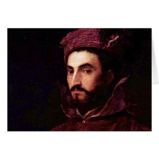 Retrato de Ippolito de' Medici. Por Tizian Tarjeta De Felicitación