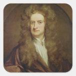 Retrato de Isaac Newton 1702 Pegatina Cuadradas Personalizada