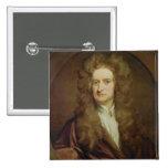 Retrato de Isaac Newton 1702 Pin Cuadrada 5 Cm