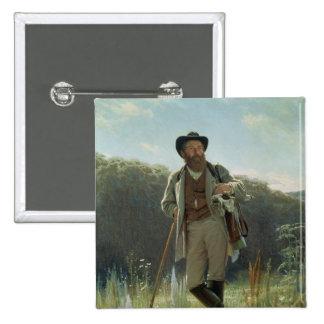 Retrato de Ivan Ivanovich Shishkin, 1873 Pin Cuadrada 5 Cm