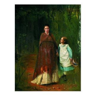 Retrato de Ivan Kramskoy- de la esposa y de la hij Postal