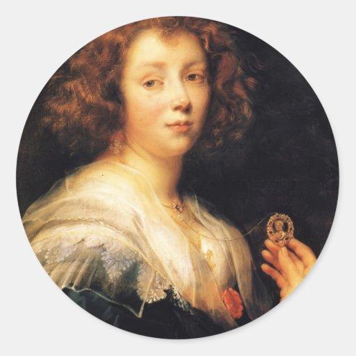 Retrato de Jacob Jordaens- de una señora joven Pegatina Redonda