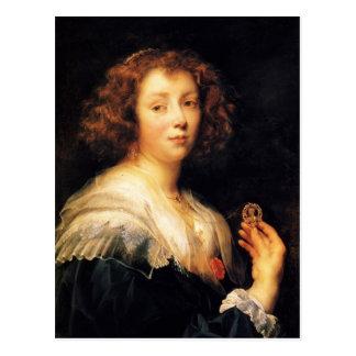 Retrato de Jacob Jordaens- de una señora joven Tarjeta Postal