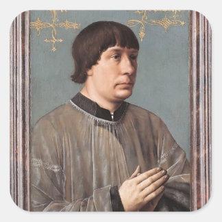 Retrato de Jacob Obrecht de Hans Memling Pegatina Cuadrada