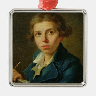 Retrato de Jacques-Louis David como juventud Adorno Navideño Cuadrado De Metal