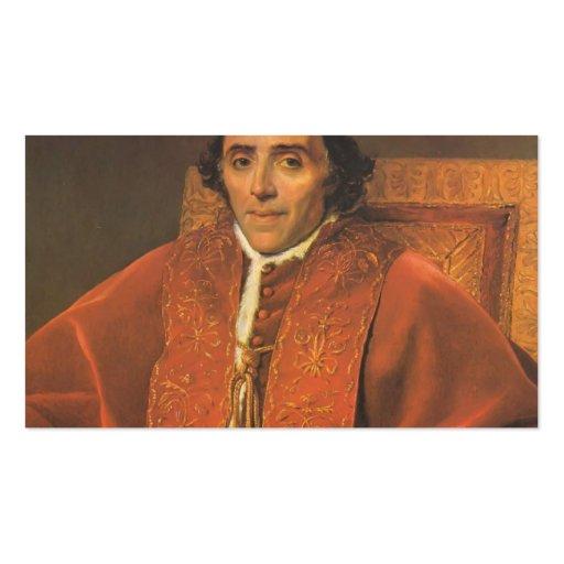 Retrato de Jacques-Louis David de papa Pío VII Plantilla De Tarjeta Personal