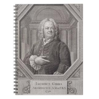 Retrato de James Gibbs (1682-1754) de los 'planes, Cuaderno