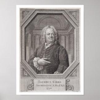 Retrato de James Gibbs (1682-1754) de los 'planes, Póster