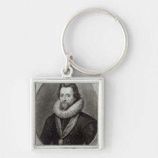 Retrato de James I después de una miniatura cerca Llavero Cuadrado Plateado