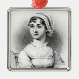 Retrato de Jane Austen Adorno Navideño Cuadrado De Metal