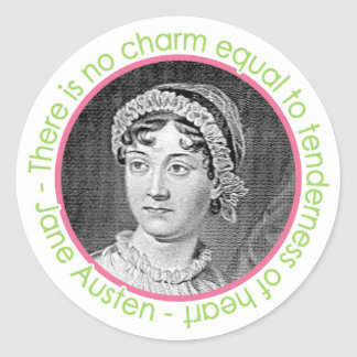 Retrato de Jane Austen con los pegatinas de la cit