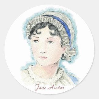 Retrato de Jane Austen de Alicia Flynn Pegatina Redonda