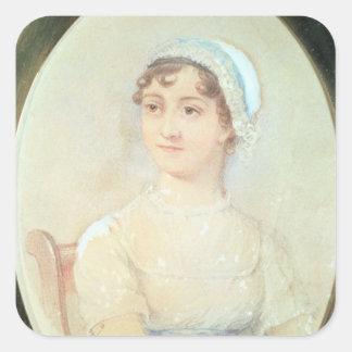 Retrato de Jane Austen Pegatina Cuadrada